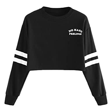 WM & MW No Hard Feeling Sweatshirt,Womens Fashion Letter Striped Patchwork Round Neck Long