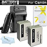 2 Pack Battery And Charger Kit For Canon PowerShot SX40 HS SX40HS, SX50 HS, SX50HS, PowerShot G15, PowerShot G16, G1 X G1X Digital Camera Includes 2 Extended Replacement (1200Mah) NB-10L Batteries + AC/DC Travel Charger + LCD Screen Protectors + More