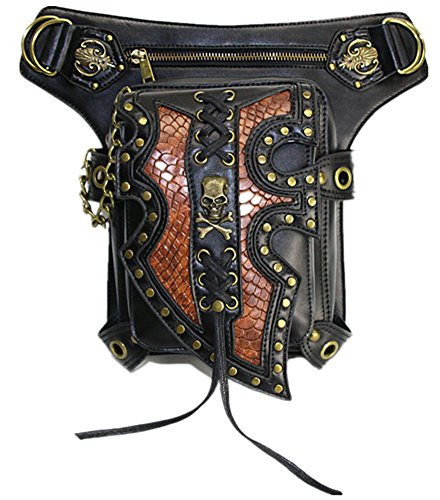pockets Women's fashion shoulder function Black locomotive bag punk Wei fei messenger multi 1RZvqfwx