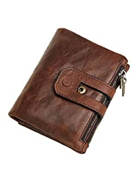 Dlife Vintage Cowhide RFID Blocking Wallet Genuine Leather Double Zipper Coin Pouch Bifold Short Wallet Handy Purse Bag (Vintage-Coffee)