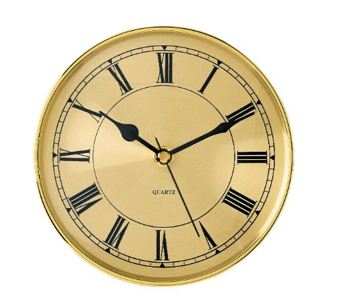 "5-7/8 Gold Roman Clock Insert - Overall diameter: 5-7/8"" Mounting depth: 15/16"" Mounting diameter: 3-1/4"" - wall-clocks, living-room-decor, living-room - 51SR7gxzNPL -"