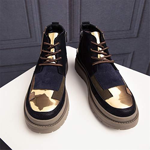 Zapatos Botas Informal Hombre Moda De Para Redonda Lateral Cremallera Blue Cómodo Ocio Punta Costura Gold Personalidad TwqT7rXnx