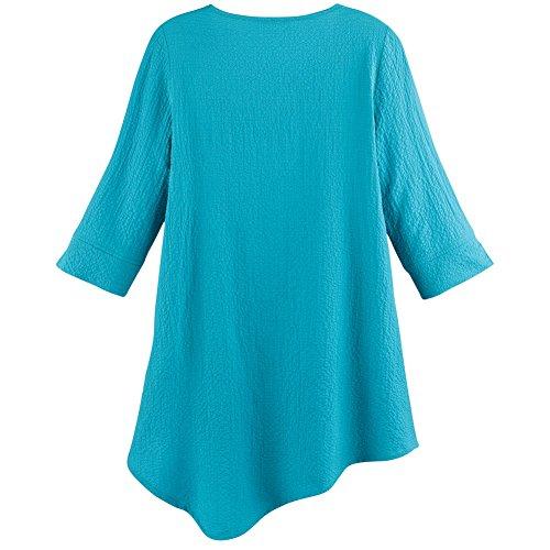 CATALOG CLASSICS Women's Tunic Top - Front Twist 3/4 Sleeves Scoop Neck - Turquoise - XXL