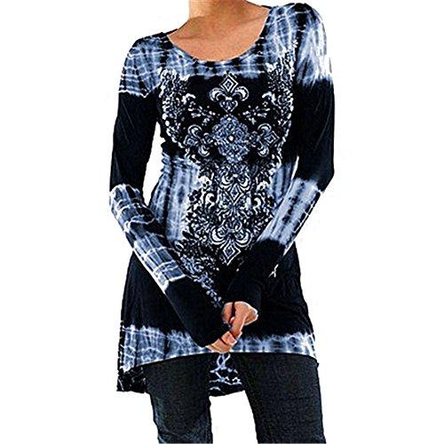 Tamaño Mini Camisetas Casual Claro Vestido A Más Vestido Góticas Mujeres Vintage Cuello Linear Redondo Largas Hibote Larga Estampadas Azul Manga Camisetas Camisetas Blusas Camisas Tqwtv1SxF