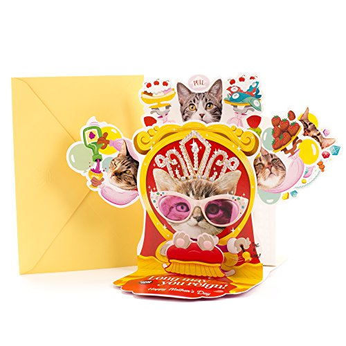 Hallmark Funny Pop Up Mother's Day Card with Song (Cat Queen, Plays Rule Britannia)]()