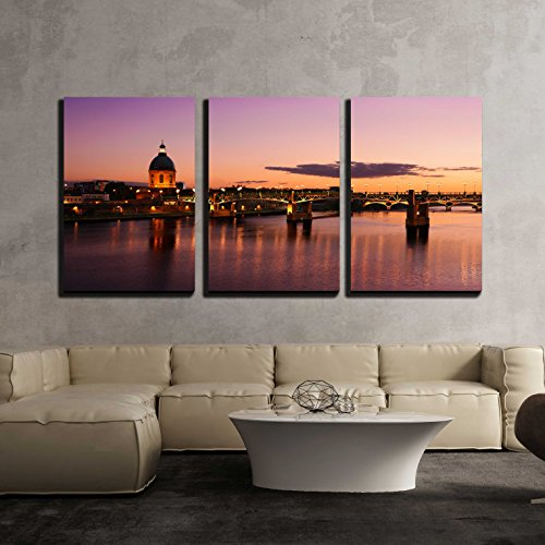 (wall26 - 3 Piece Canvas Wall Art - Purple Sunset at Toulouse City - Modern Home Decor Stretched and Framed Ready to Hang - 16