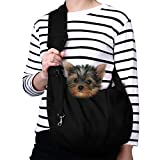 TOMKAS Small Dog Cat Carrier Sling Hands-Free Pet Puppy Outdoor Travel Bag Tote Reversible (Black)