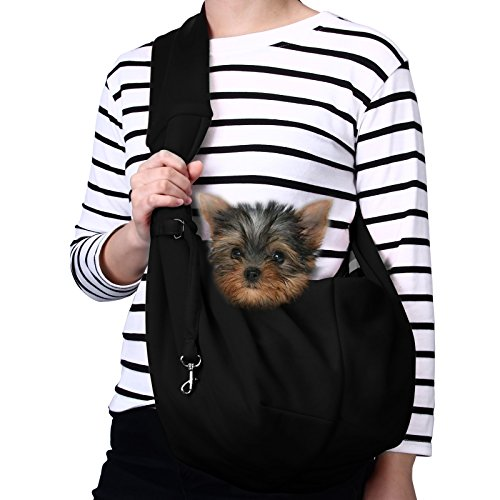 TOMKAS Small Dog Cat Carrier Sling Hands Free Pet Puppy Outdoor Travel Bag Tote Reversible (Black) (Sling Style Pet Carrier)