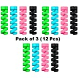 Xec2us Multipurpose Spring Style Silicone Cable Protector (Pack of 3) (12Pieces) Multi Color