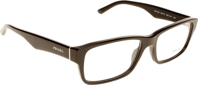 dce1473aada29 Prada PR 16MV Glasses in Gloss Black PR 16MV 1AB1O1 53  Amazon.co.uk   Clothing