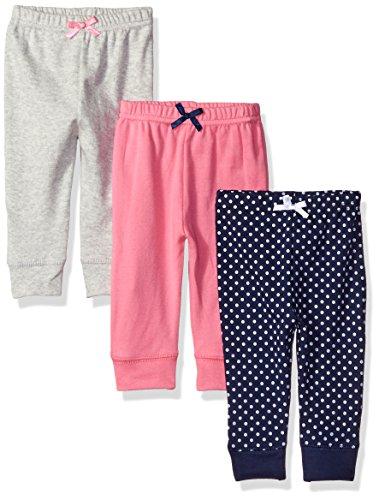 Luvable Friends Paquete de 3 Pantalones con puño en Cintura y Tobillo, para bebé y niño, Lunares Azul Marino, 9-12 Meses