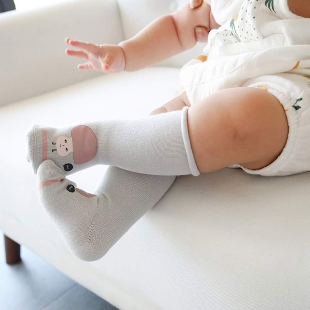 Daxin 3 Pairs Unisex Baby High Socks Soft Cotton Cute Cartoon Stockings for Girl Boy Infant