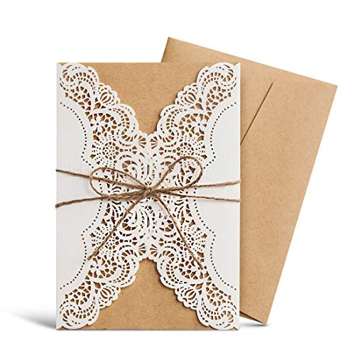 WISHMADE Rustic Laser Cut Wedding invitations Cards Lace Sleeve Pocket Invite Envelopes Kit Burlap Tie for Engagement Bridal Baby Shower Birthday Quinceanera Cardstock Favors Jofanza (50)