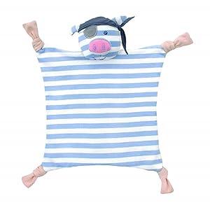 Apple Park Organic Farm Buddies - Pirate Pig Blankie, Blanket Baby Toy for Newborns, Infants, Toddlers - Hypoallergenic, 100% Organic Cotton