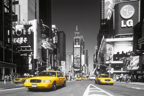HUGE LAMINATED / ENCAPSULATED Trendy Style B/W Times Square