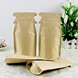 12x23cm (4.7x9.1 inch) Kraft Paper Ziplock Inner Aluminum Foil Package Pouch Smell Proof Safe Food Grade Snack Nuts Mylar Foil Packaging Bag Heat Sealable Zipper Top Lock Bag (Pack of 350 Pieces)