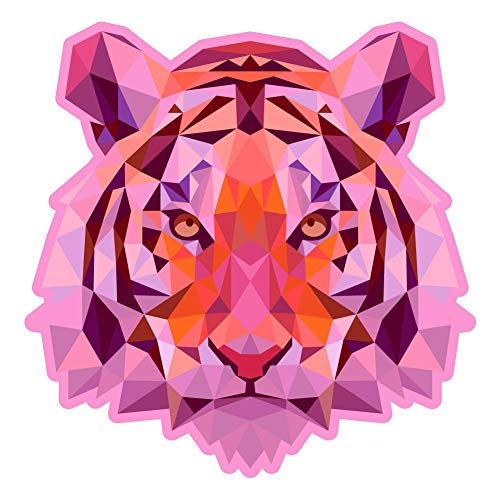 Tigers Poly Stripe - Dark Spark Decals Low Poly Geometric Pink Tiger - 10 Inch Full Color Vinyl Decal for Indoor or Outdoor use, Cars, Laptops, Décor, Windows, and More