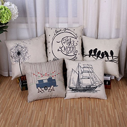 BPFY 5 Pack Home Decor Sofa Throw Pillow Case Set of 5 Cushi