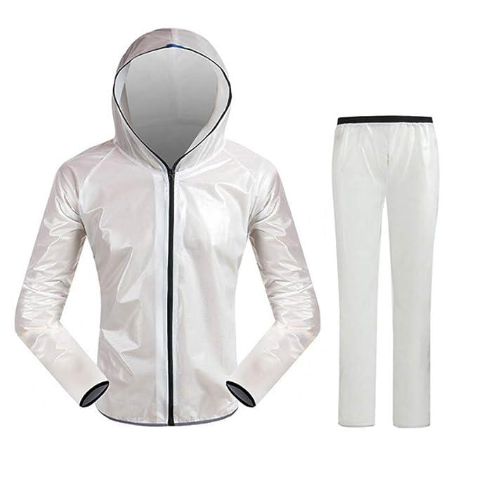 Alexsix Hombres Mujeres Traje de Lluvia Impermeable Resistente al Desgaste con Cremallera Chaqueta con Capucha Juego de Pantalones para Acampar ...