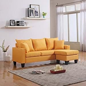 Amazoncom modern linen fabric small space sectional sofa for Small sectional sofa amazon