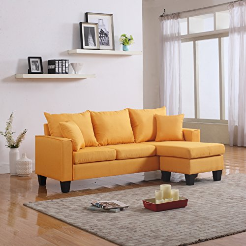 Modern Fabric Sectional Reversible Chaise