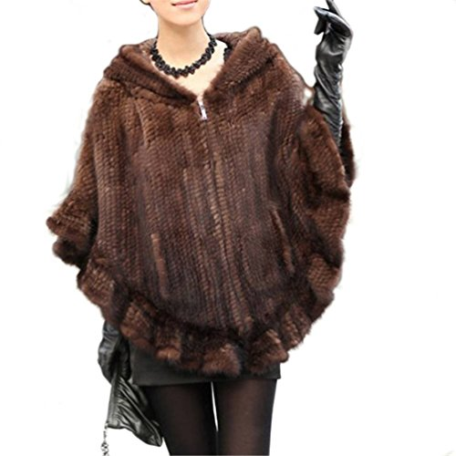 - YR Lover Women's Real Mink Fur Warm Stole Cap with Big Fur Collor (Brown, One Size)