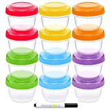 WeeSprout Baby Food Storage Containers | Set of 12 Small Reusable 4oz Jars with Leakproof Lids (6 Asst. Colors) - BPA Free Plastic - Freezer/Dishwasher Safe - Also Use For Kids Snacks/Lunch Containers: more info