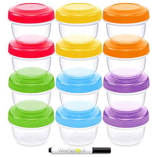 Leakproof Baby Food Storage | 12 Container Set | Premium BPA Free Small Plastic Containers with Lids Lock in Freshness, Nutrients & Flavor - Freezer & Dishwasher Safe 4oz Snack Containers for Kids
