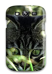 New Premium AkxeMlt4476sOAlu Case Cover For Galaxy S3/ Kitty Behind Grass Protective Case Cover
