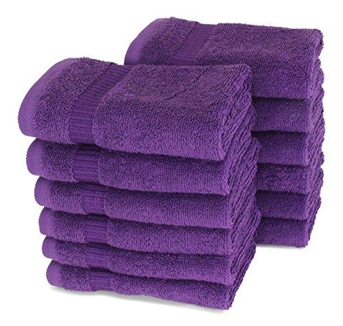SALBAKOS Luxury Hotel & Spa Turkish Cotton 12-Piece Eco-Friendly Washcloth Set for Bath, 13 x 13 Inch, Purple (6 Piece Towel Set Grape)