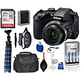 Nikon Coolpix B500 Black 16MP 40x Optical Zoom Digital Camera Package Deal Bundle – Includes SanDisk Ultra 32GB SDHC Memory Card + 4X AA Rechargeable Batteries + Camera Bag + Professional Handgrip +