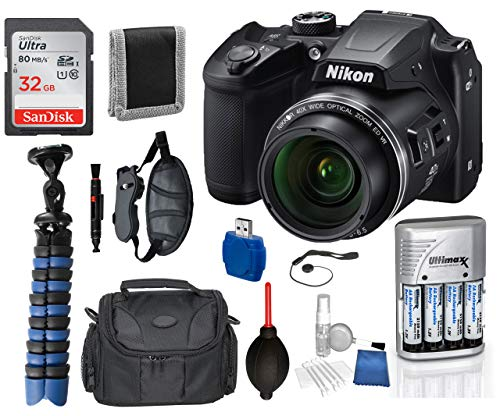 Nikon Coolpix B500 Black 16MP 40x Optical Zoom Digital Camera Package Deal Bundle  Includes SanDisk Ultra 32GB SDHC Memory Card + 4X AA Rechargeable Batteries + Camera Bag + Professional Handgrip +