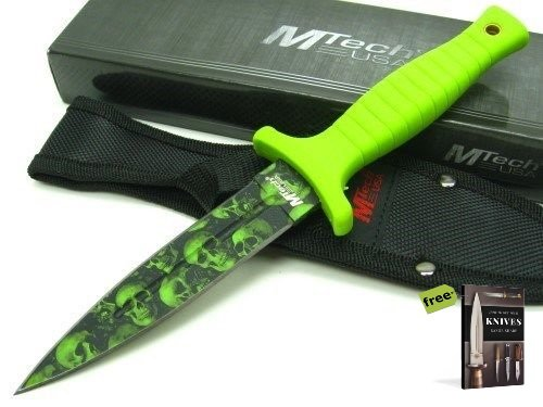 Mtech Camo (MTECH Green SKULL CAMO Straight Black Carbon Steel Hunting Tactical Fixed Blade Knife + Sheath + Free eBook by SURVIVAL STEEL)