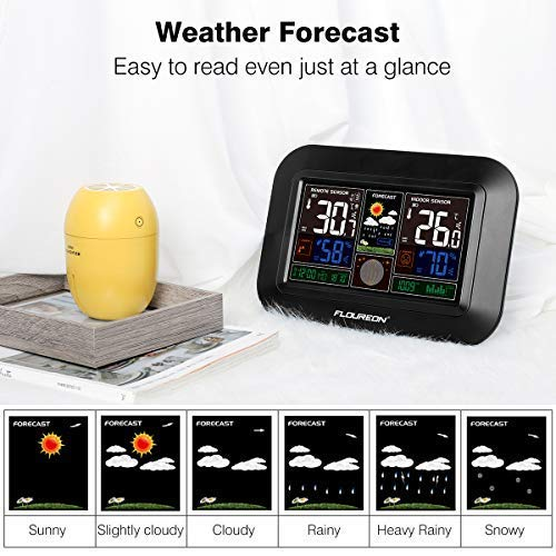 Weather Forecast Station,Digital Home Weather Station with Morning Noon and Night Precision Forecast, In/Outdoor Temperature and Humidity Gauge Calendar Weather Forecaster Snooze Alarm Clock -Black