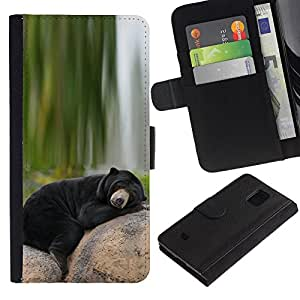 KingStore / Leather Etui en cuir / Samsung Galaxy S5 Mini, SM-G800 / Oso so?oliento de Alaska Negro Naturaleza Verde