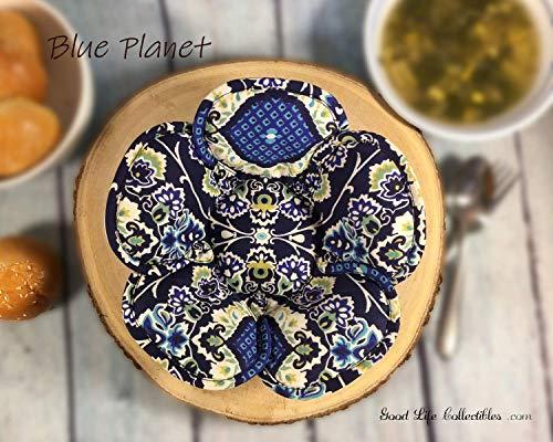 SET Microwave Bowl Cozy, Blue Floral Reversible Handmade Original Unique