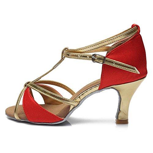 YFF femmes de des heeled Red latine nbsp;Bal danse Chaussures 7cm Tango 809 heels 8rqXrBnEt