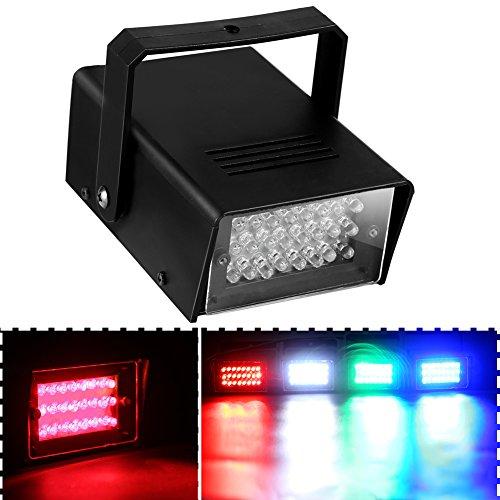 ONEDONE Mini 24 LED Bühnenbeleuchtung Bühnenlicht Wirkung Stroboskop Licht Beleuchtung für Disco Club Party (Rote)