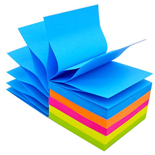 LinQuick Pop-Up Sticky Notes 3''x3'',10 Pads/Pack,100Sheets/Pad 1000Sheets Individual Package (Bright Colors)