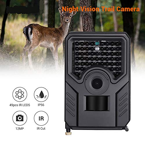 QUARKJK Wildlife Trail Camera Hunting Camera Waterproof Night Vision Trap Trial Camera Infrared LED 12MP Black Wild -