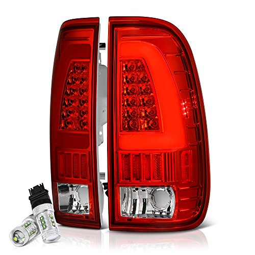 [CREE LED Reverse Bulbs] VIPMOTOZ Neon Tube LED Tail Light Lamp Assembly For 1997-2003 Ford F-150 & 1999-2007 Ford Superduty F-250 F-350 Pickup Truck - Rosso Red Lens, Driver and Passenger Side