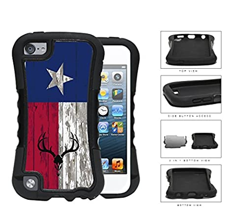 Deer Hunter Skull Bones Antlers on Texas Flag & Wood Background iPod Touch 5 2-piece Dual Layer High Impact Black Silicone (Real Tree Camo Case For Ipod 5)