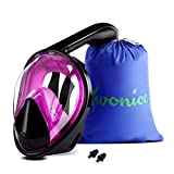 WONICE Snorkel Mask Full Face for Adults and Kids,180°Panoramic View Anti-Fog, Anti-Leak with Adjustable Head Straps,Compatible and Detachable GoPro Snorkeling & Swimming Mask (Black&Purple, S/M)