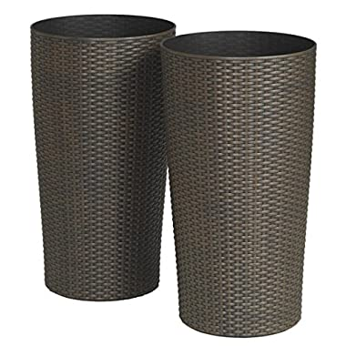 Brylanehome Set Of 2 Tall Round Planters (Brown,0)