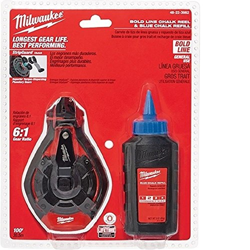 Milwaukee 48-22-3982 100 Ft. Bold Line Chalk Reel w/ Strip Guard Gearbox and 6:1 Gear Retraction Ratio (3 Oz. of Blue Chalk Included) by Milwaukee