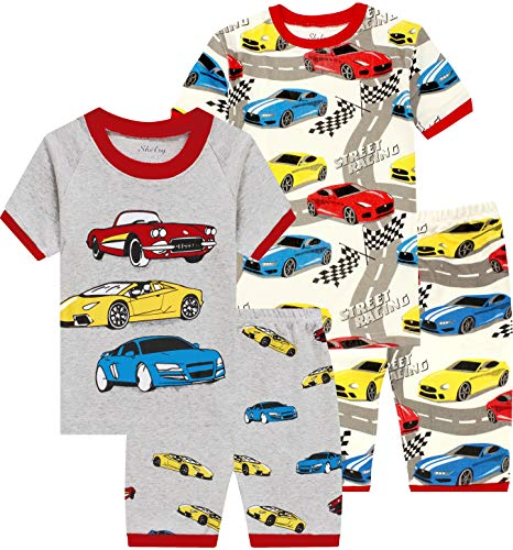 (shelry Pajamas for Boys Baby Race Car Clothes Summer Toddler Kids 4 Pieces Short Pj Set 6t )