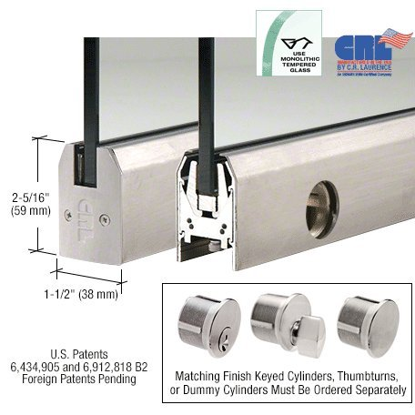 Brushed Stainless Low Profile 35-3/4'' Length Tapered Door Rail With Lock for 3/8'' Glass