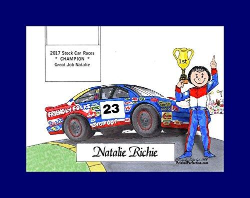 (Personalized Friendly Folks Cartoon Print w/Mat - Ready to Frame Race Car Driver, Stock - Female)
