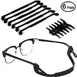 Anti-Slip Glasses Strap - 6 Black Ablerv Eyewear Retainer for Kids & Adults Sport Eyeglass Strap Holder, Premium Grade Comfortable Silicone Glasses Ear Hook