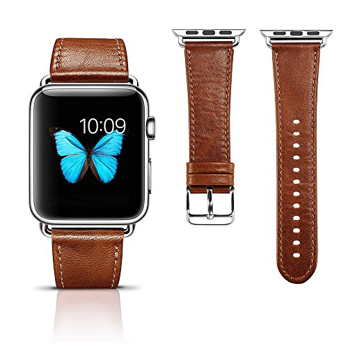 Apple Watch Leather Band, Icarercase Vintage Series Genuine Leather Watchband Strap Replacement iWatch Wristband Link Bracelet with Secure Metal Clasp Buckle for Apple Watch (Brown for 42mm)